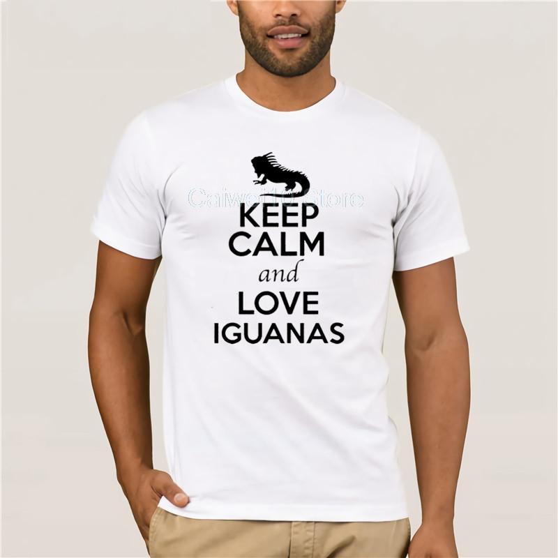 Imprimir Men Cotton T-shirt Casual 100% de Homens Casual manga curta Mantenha a calma e amor Amor animal Iguanas Mens Verão Camiseta