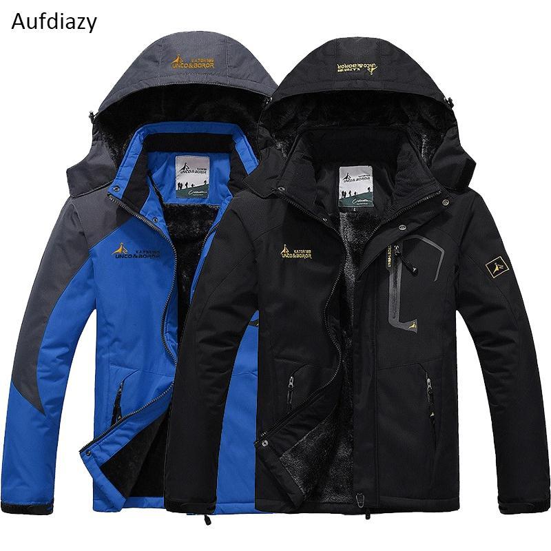 Aufdiazy Männer Winter Dicke Fleece Wasserdichte Winddichte Jacke Outdoor Sport Warme Mantel Wandern Camping Männliche Jacken JM036