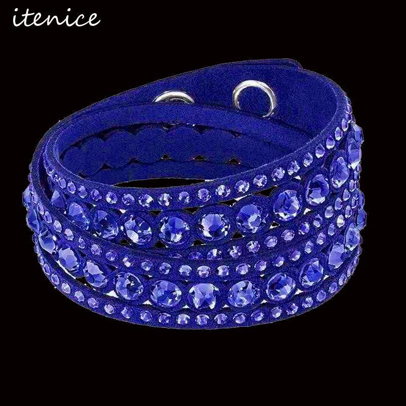 Браслеты очарования Браслеты горный хрусталь кожаный браслет ручной работы с брюшной оберткой буровой браслет для девочек / женщин подарок