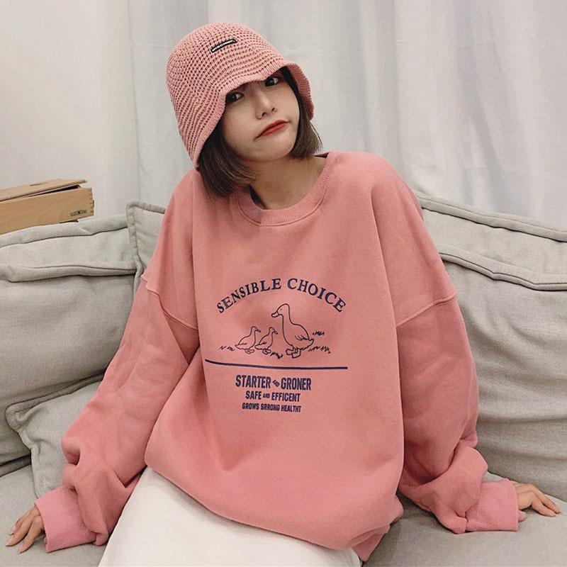 Corea del invierno de la vendimia de las mujeres ins Harajuku letra de la impresión elegante de manga larga overszie dulce de la manera ocasional floja MX200812 sudadera de color rosa