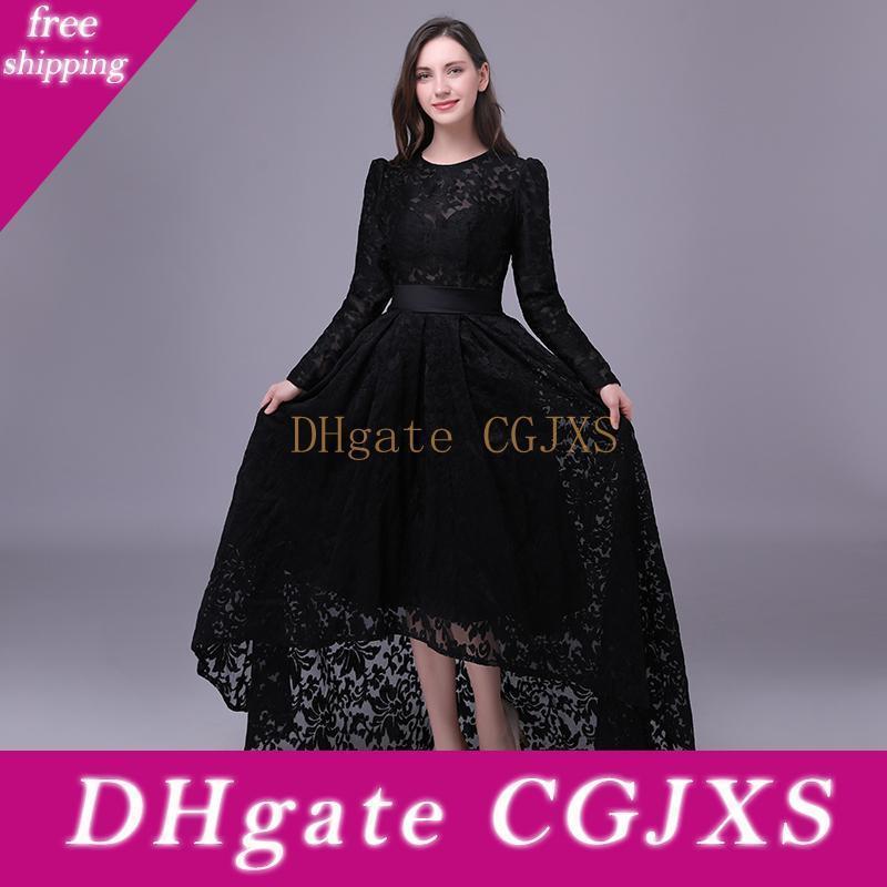 Siyah Dantel Abiye 2020 Uzun Kollu Akşam Elbise Mücevher Boyun Yüksek Düşük Abiye Vestido