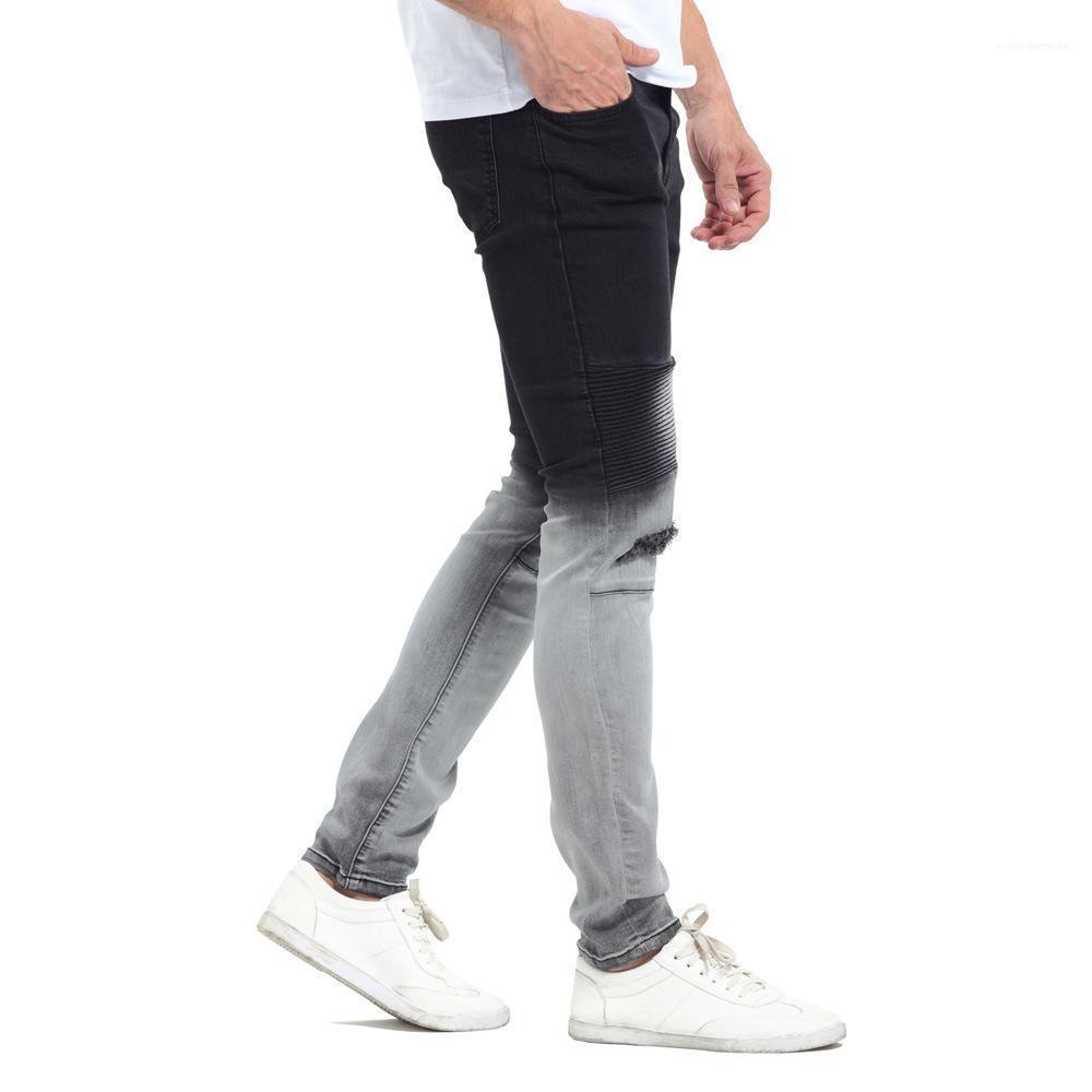 Siyah Beyaz Renk Patchwork Jeans Gradatient Renk Jeans Erkek Şık Tasarımcı Kalem Pantolon Yıkanmış