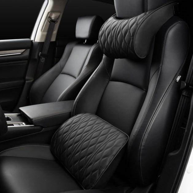 Memory Foam Car Headrest Pillow Leather Embroidered Seat Supports Sets Back Cushion Adjustment Auto Neck Lumbar Pillows
