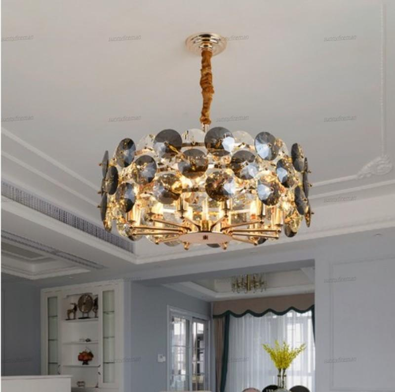 New Modern Chandelier Lighting For Living Room Smoke gray Crystal Lamps Round Chains Chandeliers Home Decoration Light Fixtures