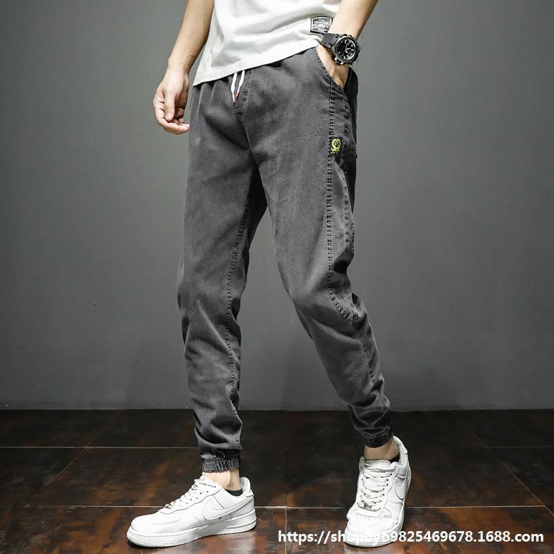 ojaTo Брюки Инструментальных джинсовая длинные брюки мужской весна 2020 тонких подходит 4NKuB и талия ноги эластичных брюки всех соответствующий гарем лодыжка связал случайный годовые