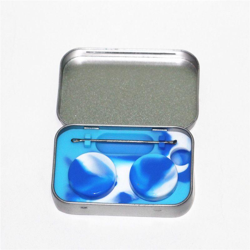 10ml Non Stick Silikon Kavanozları Dab Wax Konteyner In Paslanmaz Çelik Teneke Kutu Çoklu Renkler Vaka Kolay için Carry