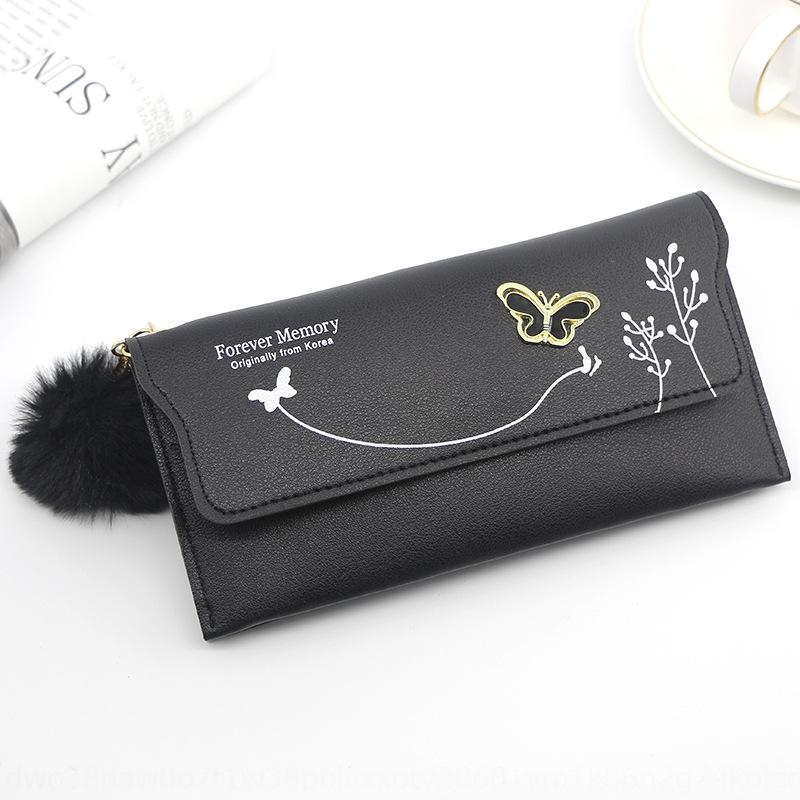 longue carte solide portefeuille de femmes personnalisées à long sac la fourrure des femmes d'embrayage arc balle portefeuille papillon Carte zipper sac couleur SRKuL porte-monnaie