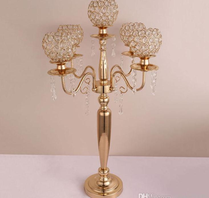 73cm de altura titulares Nueva vela 5 armas / 3-brazos soporte de la vela de la boda decoración de la pieza central de los candelabros de la palmatoria de plata / oro decoración SN2138