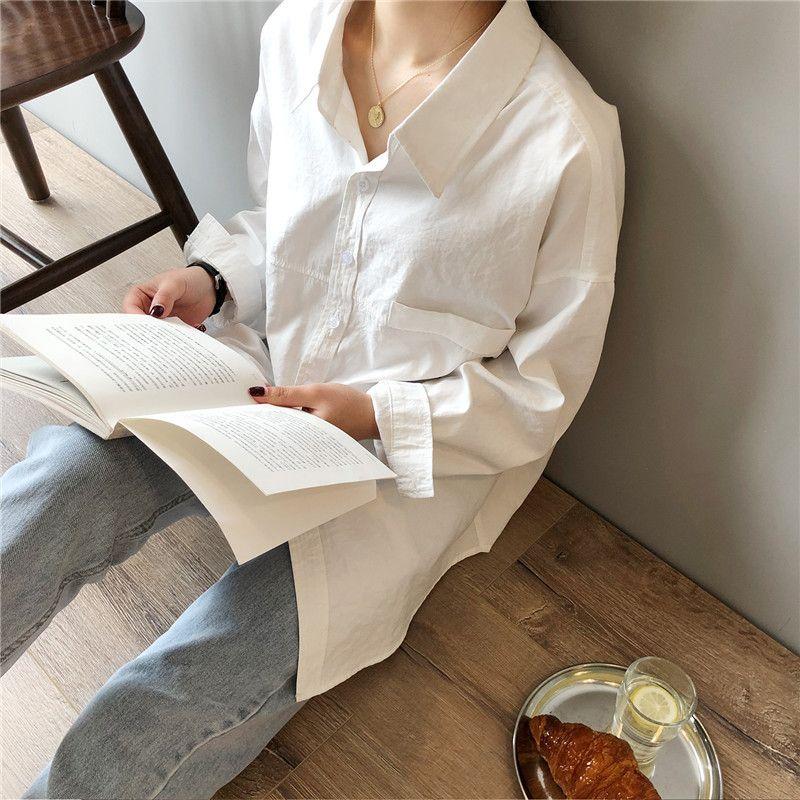 Venta caliente de la camisa de algodón crriflz sensación de imitación de ante de las mujeres 2020 del resorte nuevas camisas blusas de manga larga retro de apertura de cama de gran tamaño tapas sólidas