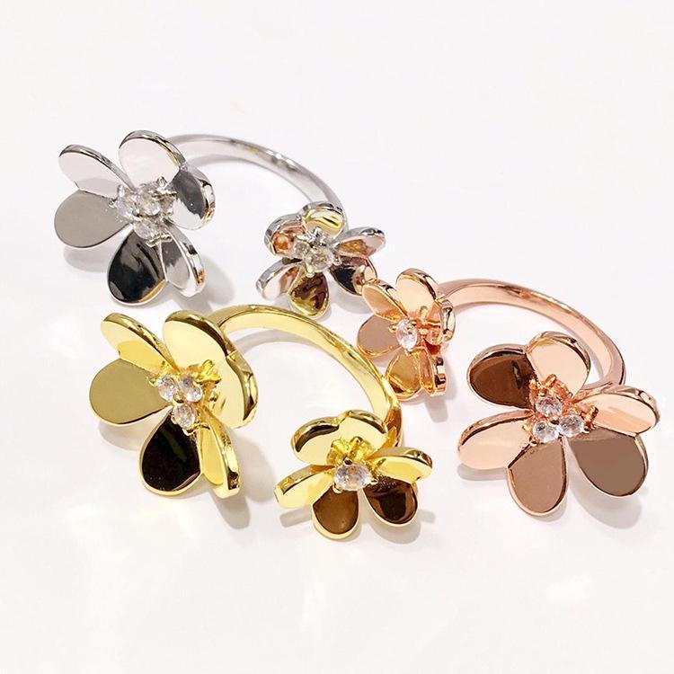 lüks mücevher tasarımcısı yüzük çiçek kadınlar gümüş yüzük altın 18k altın moda paslanmaz çelik takı sevgilisi halkaları gül nişan