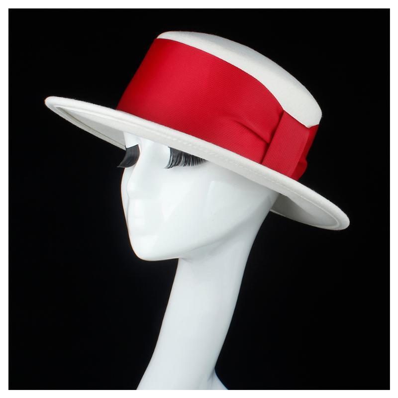 100% шерсть белых женщин Flat Top Hat с лентой Fedora Hat For Elegant Lady Широкий Брим Размер 56-58cm пирог со свининой