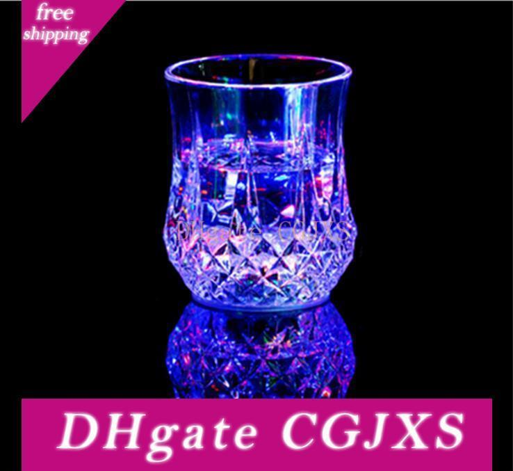 Eco -Friendly Colorful Led Cup Wine Flashing Shot Glass Led Plastic Luminous Cup Neon Cup Birthday Party Bar Wedding Beverage Wine Flash
