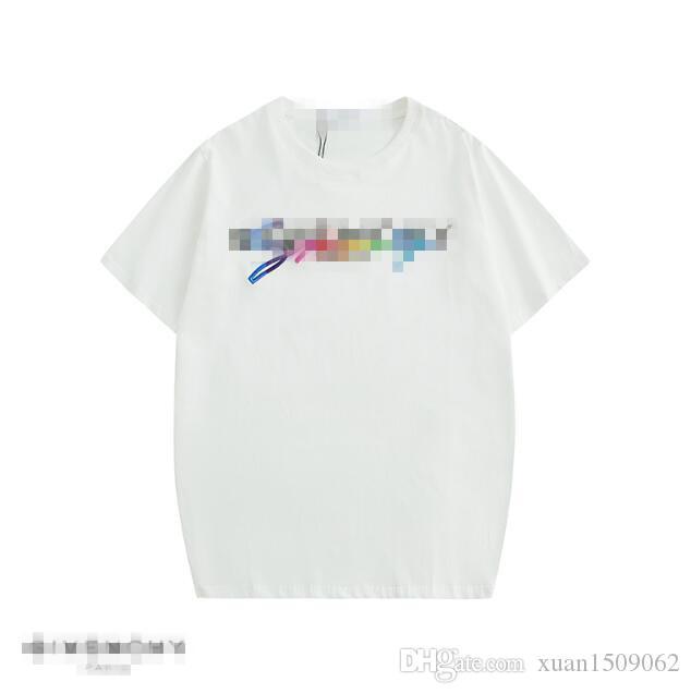 Saf pamuk Kısa Kollu T-shirt bahar / Yaz 2020 Çift harf gökkuşağı üç boyutlu nakış baskılı kısa kollu tişört erkek ve
