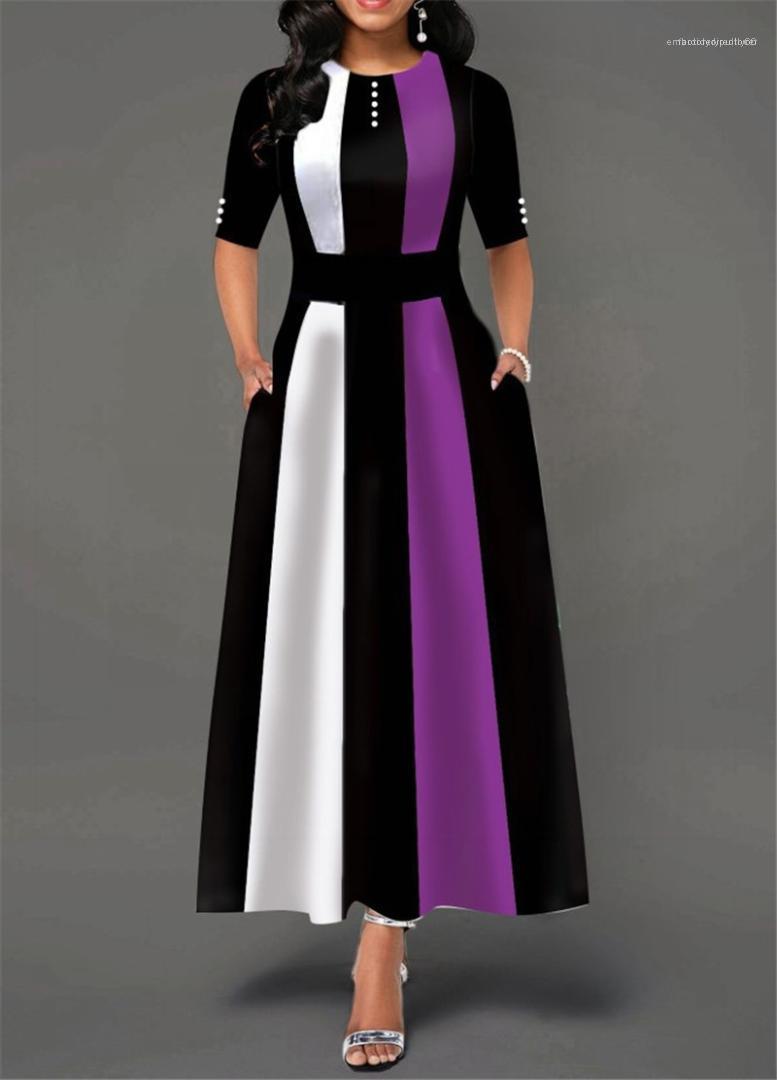 Рукав O шеи Макси платья женщин вскользь платье Лоскутного цвета контраста Полосатых женщины конструктора платье осень Half