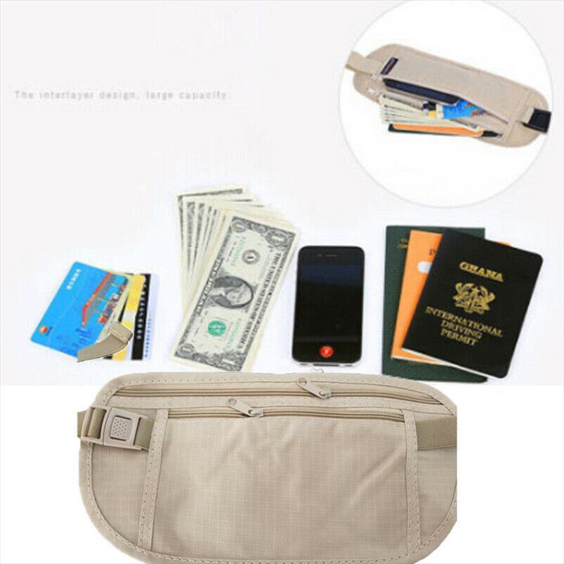 Kadınlar Taşınabilir Temel Fermuar Kılıfı Gizli Cüzdan Pasaport Para Çantaları Bel Kemeri Çanta İnce Gizli Casual Katı Bel Paketleri