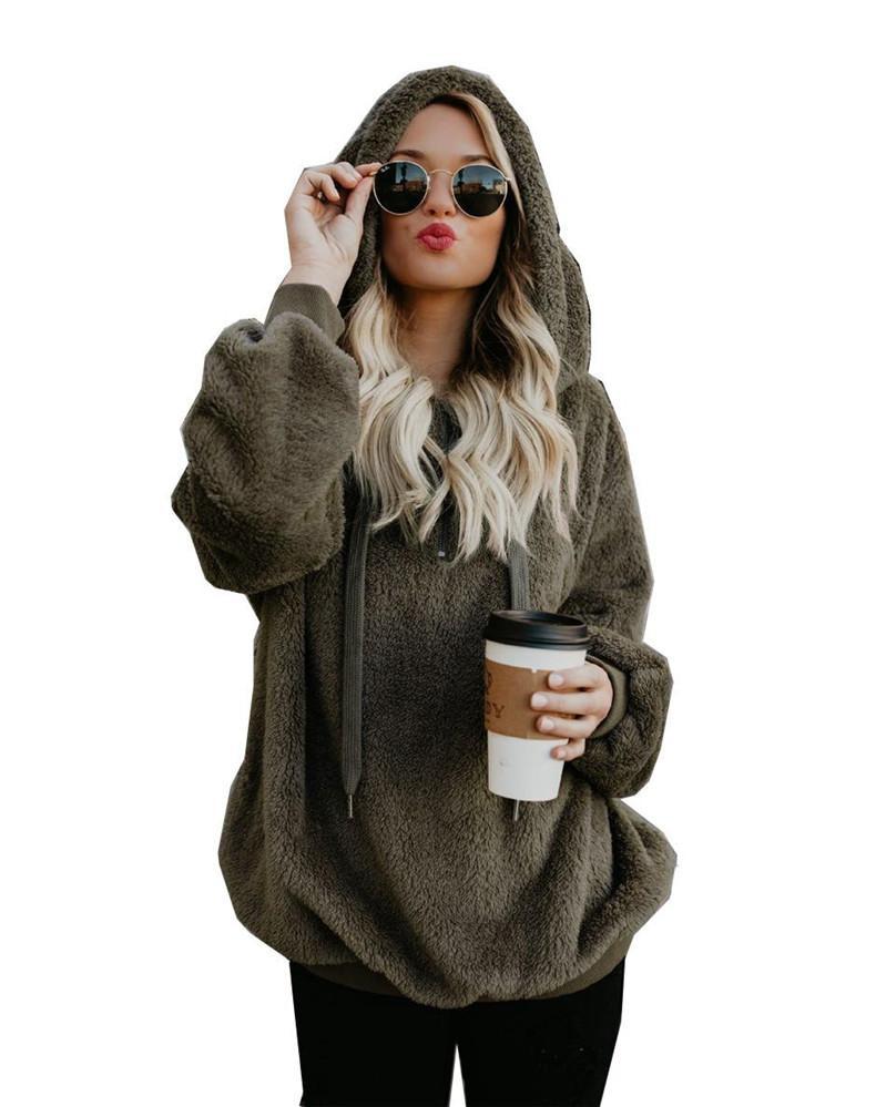 Пиджаки для женщин балахон с длинным рукавом с капюшоном сплошного цвета женщин свитера бархатной куртка осень зима теплой Топом шинели