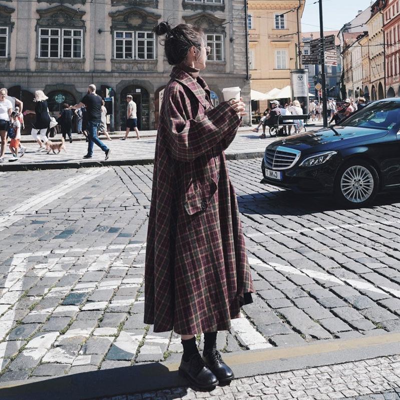 fCawR зимы Женской шерстяного плед средней длиной 2019 осени и U9FoO плащ Британского пальто шерсть Новый стиль рыхлого над коленом шерсти плащ шерстяного пальто