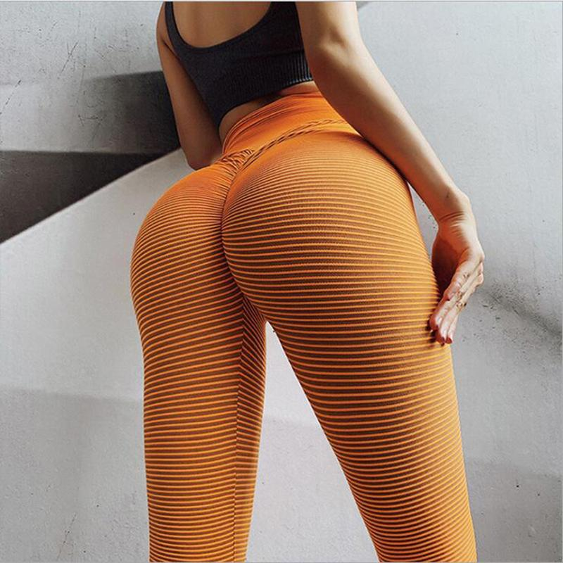 High Waist Yoga Pants Women Workout Leggings Gestreiftes Yoga Pants Schnell trocknend Sports Push Up Gym Schlank Compression Leggings