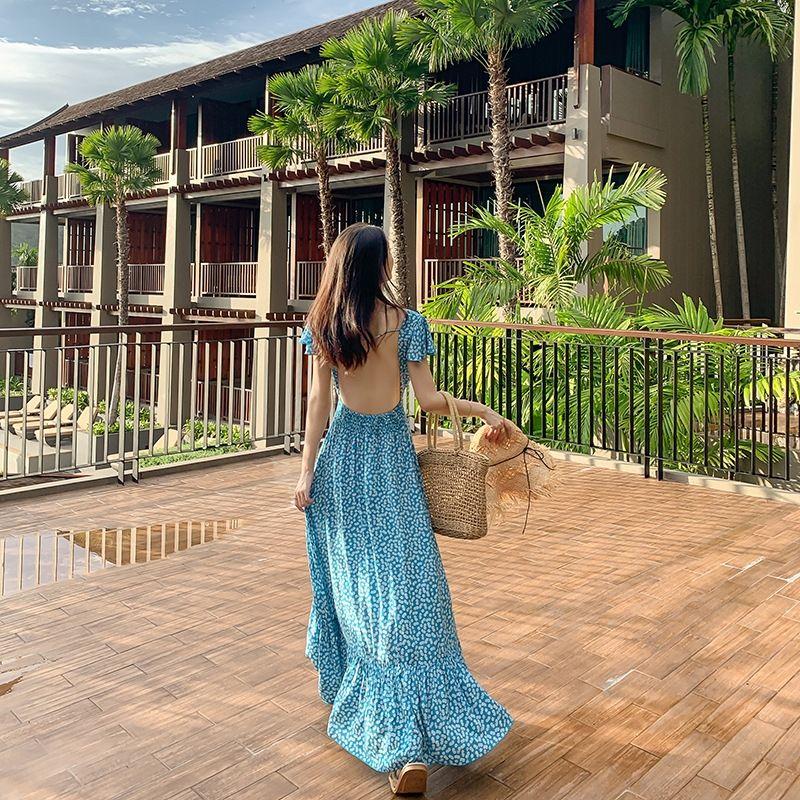 ubmKW 2019 New backless praia saia jumpsuit Super fada azul bali praia saia sexy vestido de férias Sanya Mar