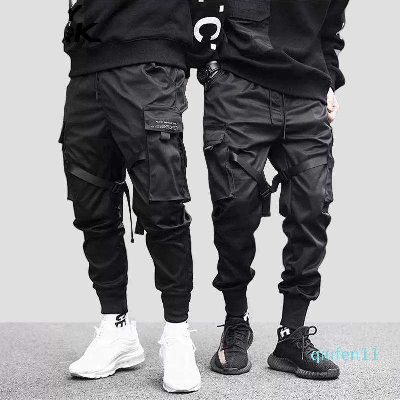 MarchWind Marca Hip Hop Boy Multi-pocket design elastico in vita Harem Mutanda degli uomini Streetwear punk Pantaloni Jogger Maschio Ballando Pantaloni neri