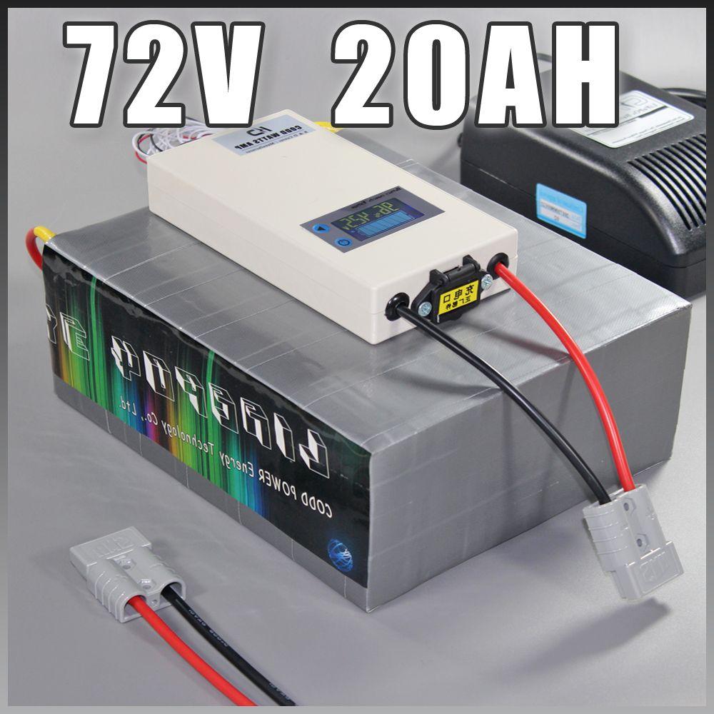 72V 20Ah LiFePO4 Battery Pack, 1500W bicicletta elettrica + BMS caricatore 72V al litio batteria del motorino della bici elettrica