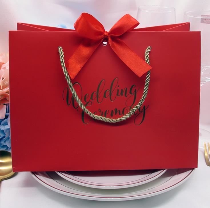 Hochwertige Geschenke Bogen Geschenkbeutel Tragbare Papiertüte Hochzeit liefert Einkaufstasche Packpapier Taschen mit Griff SN1127
