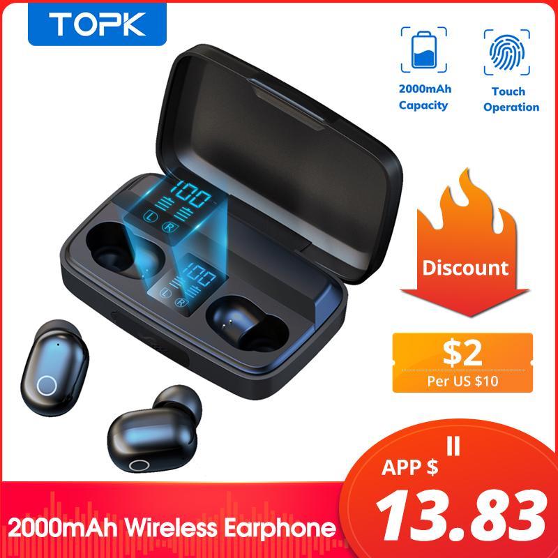 TOPK Auscultadores sem fios do fone de ouvido Bluetooth V5.0 fone Fingerprint Toque 2000mAh carregamento Box Sports Waterproof