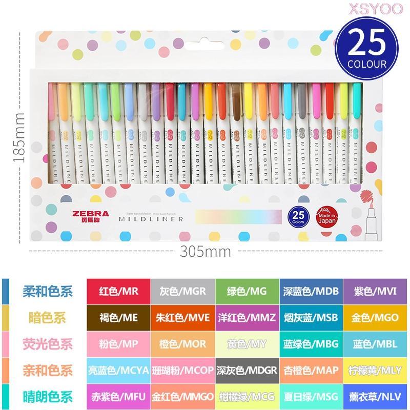 Zebra 25Color Seti Çift başlı Fosforlu Marker mildliner rengi pastel renkler Öğrenci Graffiti Mark Sanat Malzemeleri Boyama