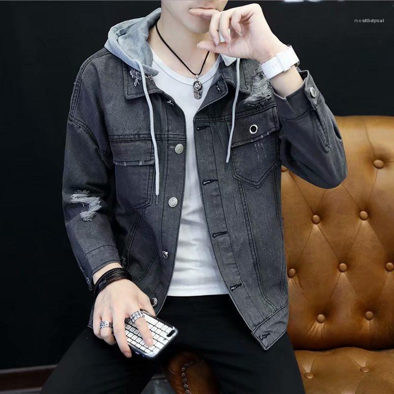 Jean with Packet Male Jackets Casual Single Breasted Mens Clothing Mans Designers Loose Hooded Coats Fashion