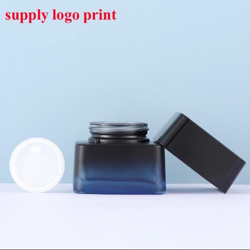 50pcs / lot bouteille en verre cosmétique bouteille de crème de crème 50 g essence logo d'approvisionnement en bouteille Sérigraphie