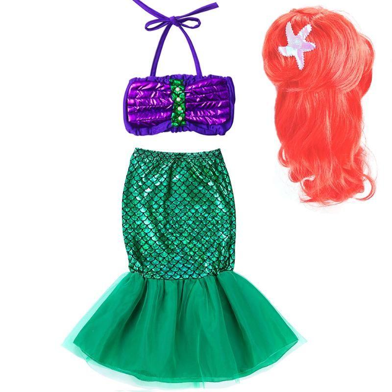 Little Girls Mermaid Dress Kids Halloween Cosplay Ariel Costume and Wig Children's Swimsuit Summer Fancy Beach Clothing for Girl