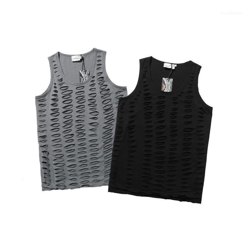 Moda Erkek tişörtleri Hip Hop Gevşek Yelek Erkek Yaz Katı Renk Scoop Boyun Delik Tank Top Yeni Ripped