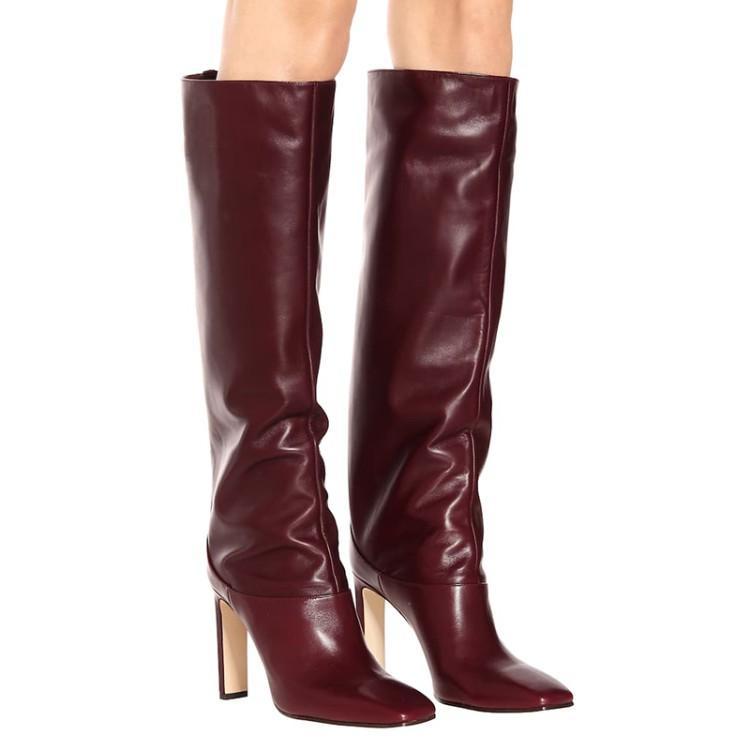 Pasarela de estilo occidental de tacón alto del dedo del pie cuadrado de Jinete Botas zapatos de las mujeres delgado recto botas altas de piel del tamaño grande 35-48 8.5cm