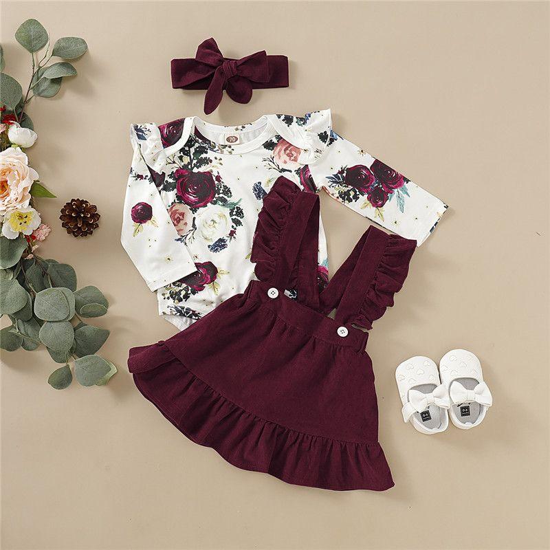 Sevimli Çocuk Giysileri Bahar Sonbahar Bebek Bebek Kız Giysileri Çiçek Romper Kayış Etek Elbise Kafa 3 adet Kıyafetler Yürüyor Giyim Setleri