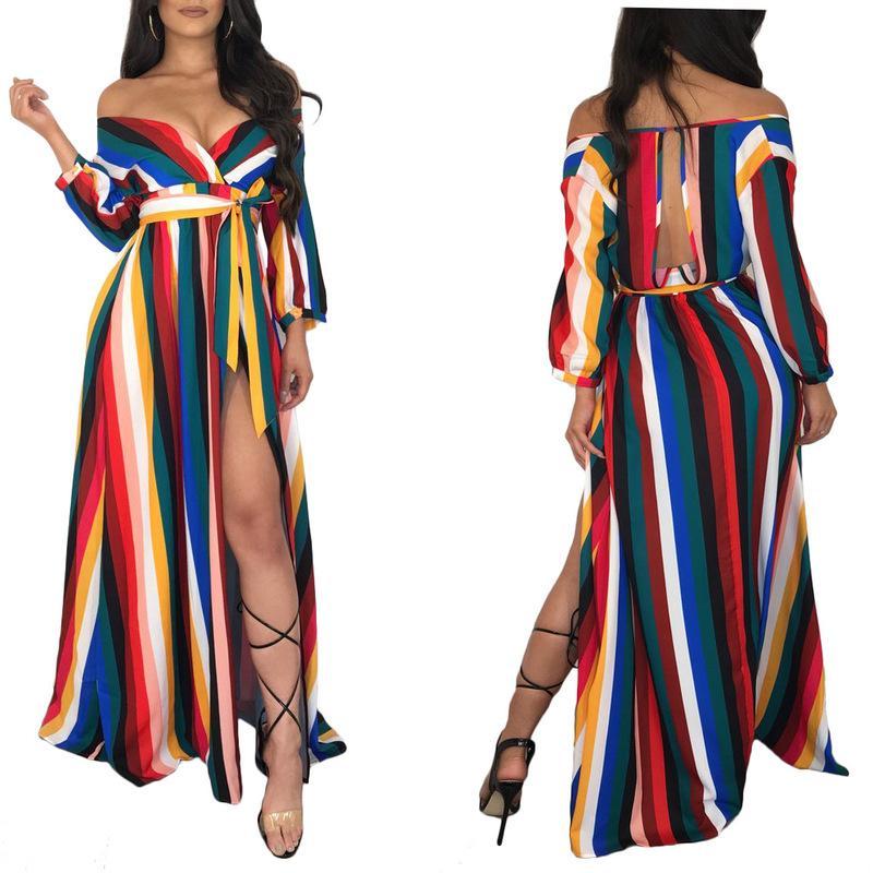 Abito coreano Abbigliamento Boho Chic Abiti Beach Wear Womens Long Maxi stile della Boemia aderente banda di colore stampato Sexy Solid