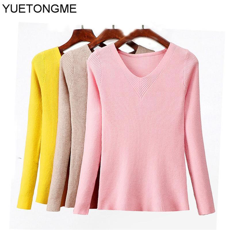 Otoño Invierno 2020 las mujeres de punto V cuello ocasional del suéter del puente delgado de la manera Femme Elasticidad Jerseys BT141A