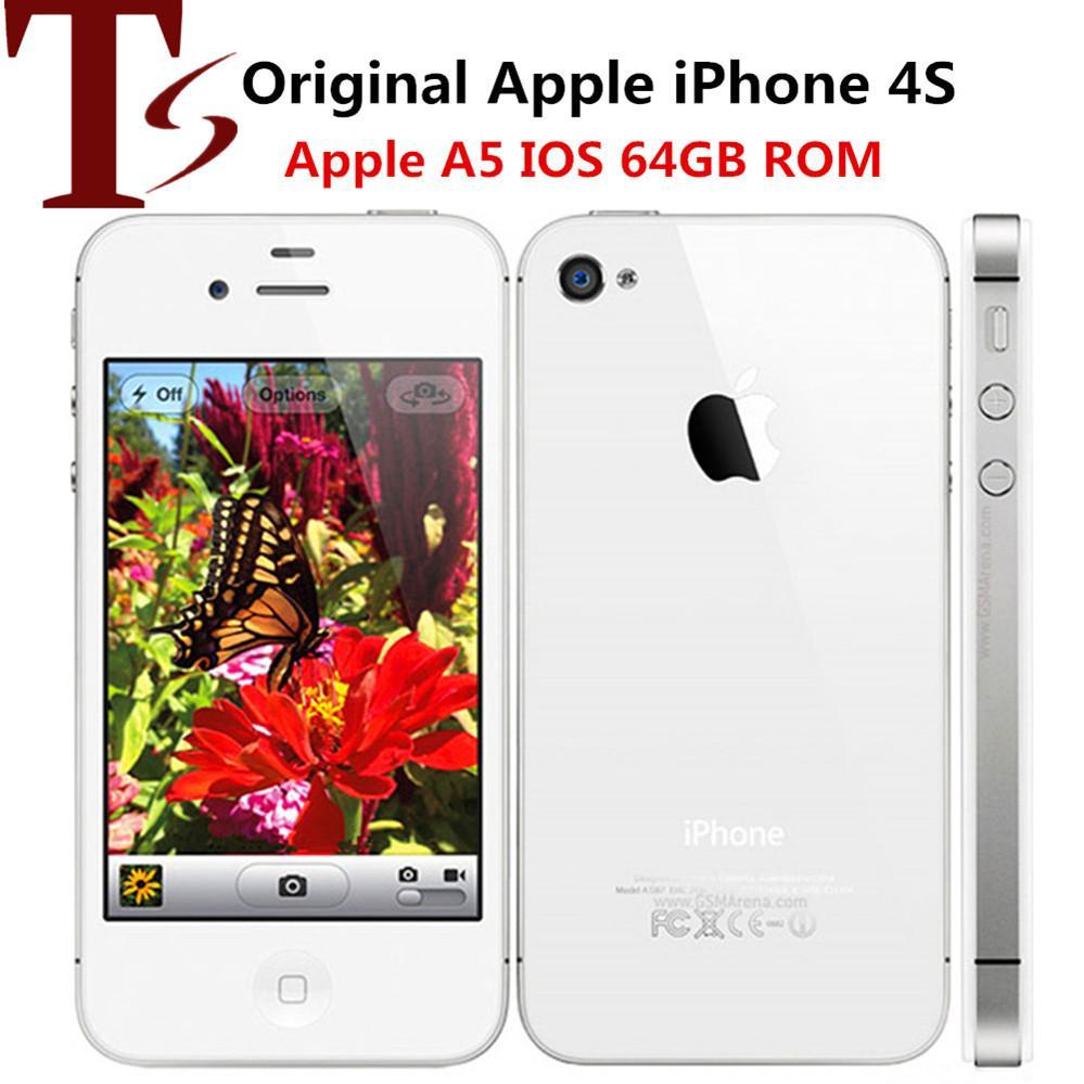 Восстановленный оригинальный Apple iPhone 4S разблокированный мобильный телефон Dual Core 64GB 3.5-дюймовый экран 5.0MP смартфон