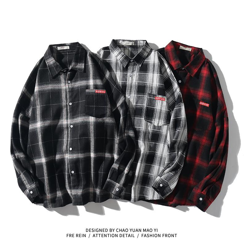 Japón cuadros estilo ocasional de la camisa para los hombres de manga larga primavera 2020 NEGRO BLANCO otoño ropa BN009