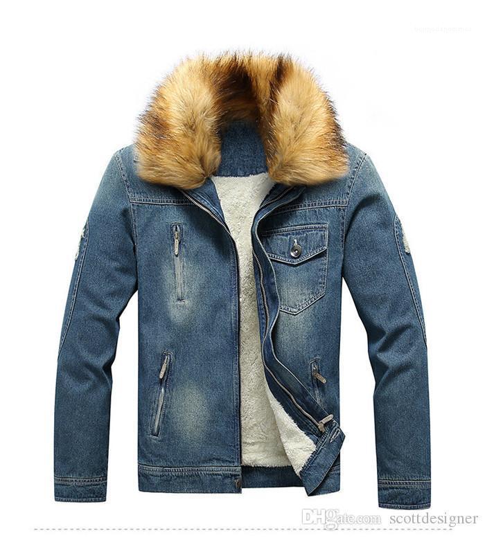 Jeans chaquetas de manga larga delgado Fax cuello de piel de moda de estilo Homme Ropa para hombre Ropa Casual Bolsillos Deisnger otoño
