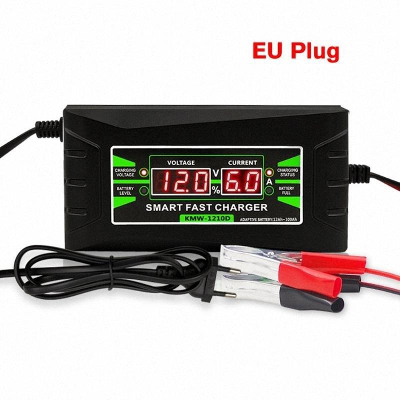 Completamente automatico intelligente 12V 6A piombo / GEL Car Battery Charger W / LCD Display della spina UE Smart Battery Quick Charger yU7u #