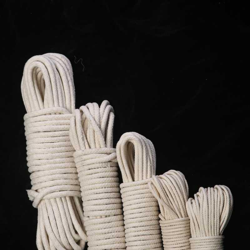 4/6/8/10/12 / 20mm intrecciato Rotonda Cotone naturale corda fai da te di lavoro manuale dei cavi del cotone per tutti gli usi di trasporto 10m / 25m / 50m / 75m / 100m