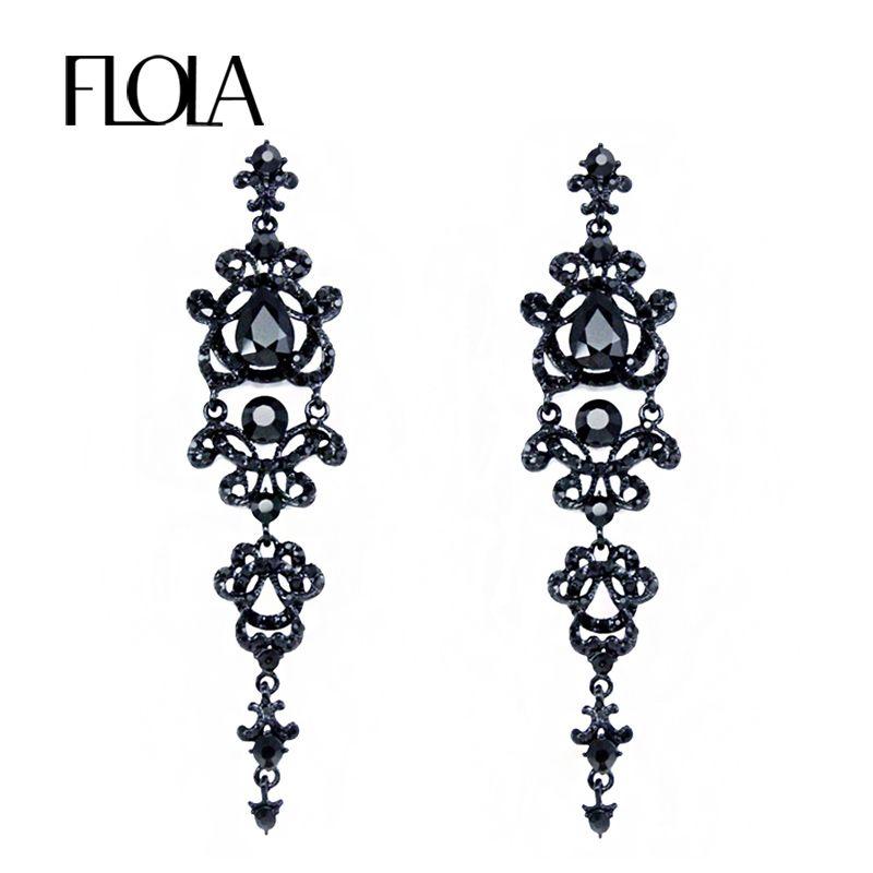 Ювелирные изделия FLOLA Марка Vintage черный серьги с камнями стразами Длинные серьги Люстра Готическая мода для женщин ersh34