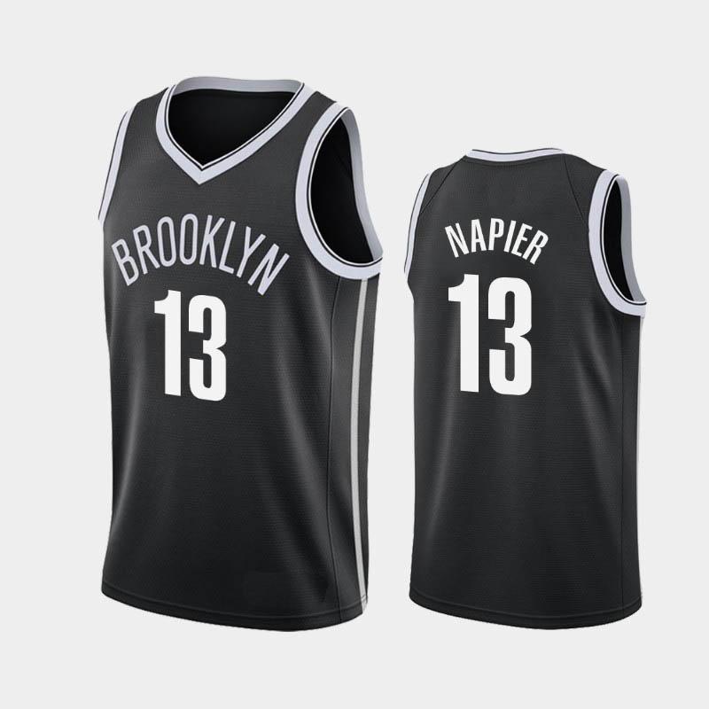 New Jersey Men Shabazz Napier Basketball Maillots BrooklynNetsBlanc Noir 2019-20 Déclaration Ville Icône Jersey
