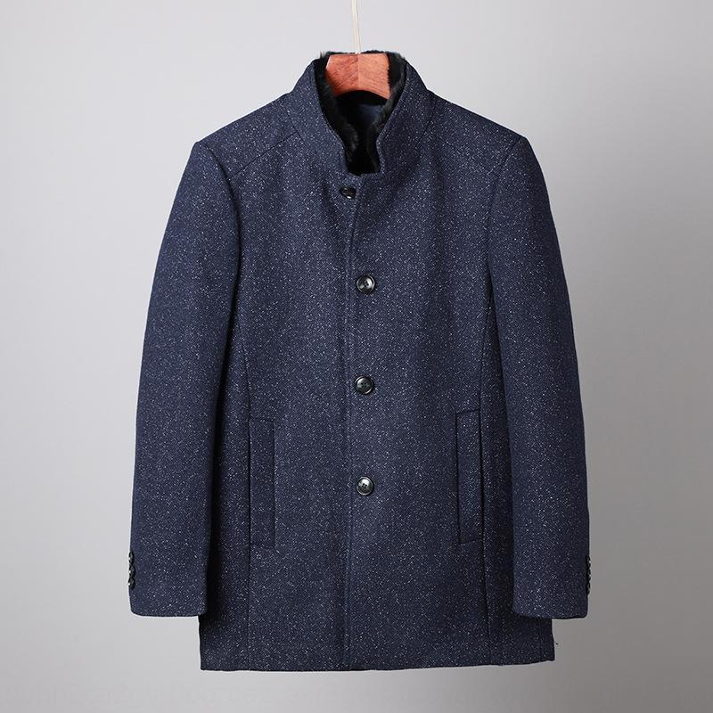 6SPlJ invierno cuello de piel abrigo de lana soporte de mediana edad y jóvenes cuello de la chaqueta recta de los hombres de lana de lana de los hombres