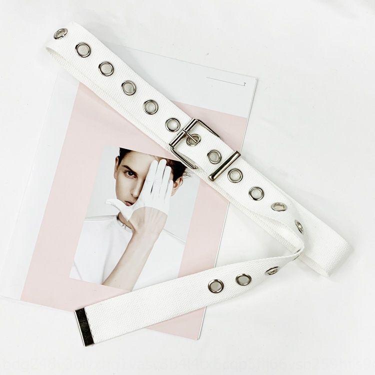 New Canvas lona cinto olhos círculo vazio-out do Feminino moda versátil cinto estudante decorativo