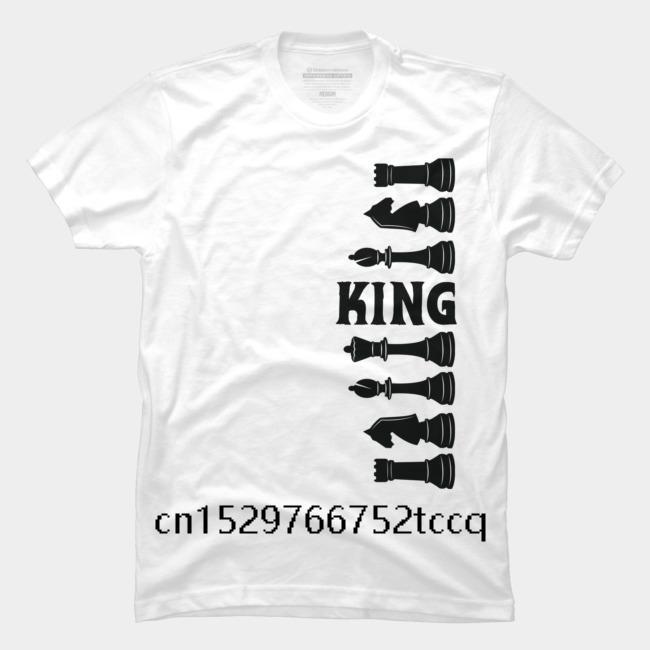 Мужская майка мультфильм Fun шахматы черный король мужской моды случайной вокруг шеи прохладной мужской футболка