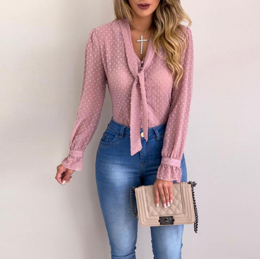 V-neck Slim Blouse Sweet Women Autumn Loose Shirt Casual Long-sleeved Round Neck Blouse Office Lady Plus Size S-5XL See Through Y200827