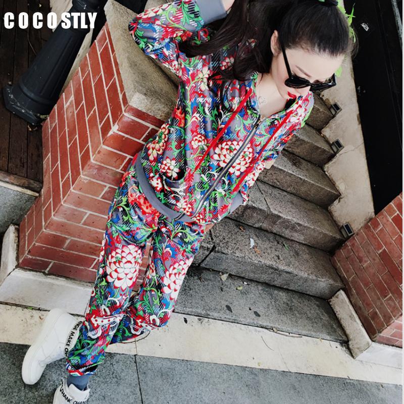 2 шт набор женщины костюмов случайного полный рукав цветочного костюм Crop Top + брюки три куска набора женщины из двух частей обмундирования T200810