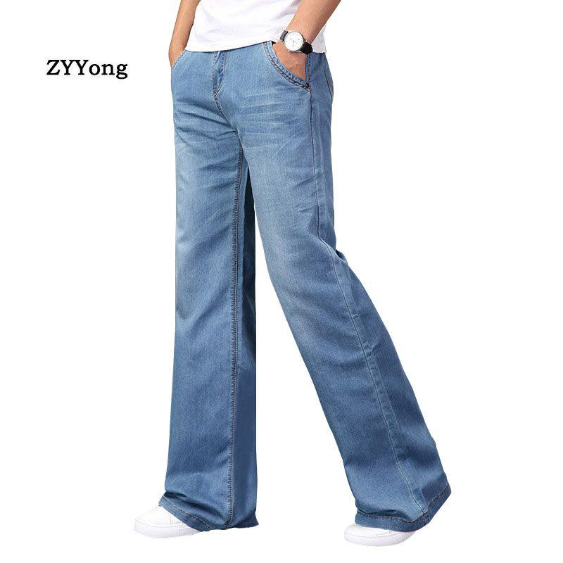 Moda para hombre acampanado Boot Cut Jeans pierna grande Pantalones de gran tamaño sueltos ropa clásica de mezclilla azul pantalones