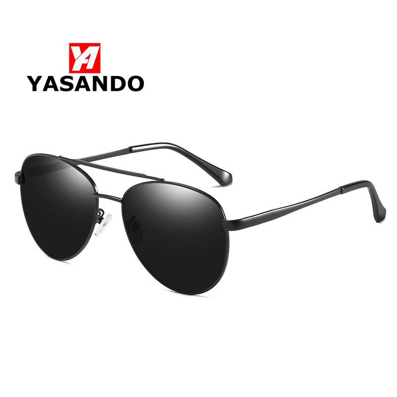 YASANDO Qualidade piloto Sunglasses Men lente polarizada UV400 vidros de Sun Goggle Acessórios Driving Eyewear GS6039